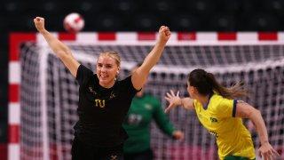 Mathilda Lundstrom of Sweden celebrates after scoring a goal against Brazil at the Tokyo 2020 Olympic Games