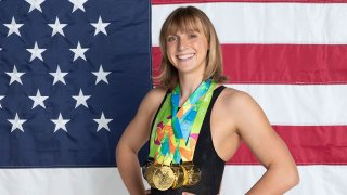 Katie Ledecky with her six Olympic medals