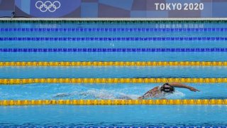 Katie Ledecky swims alone