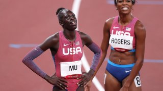 Gold medalist Athing Mu of Team United States and bronze medalist Raevyn Rogers of Team United States celebrate after the Women's 800m Final on day eleven of the Tokyo 2020 Olympic Games