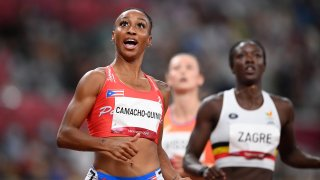 Jasmine Camacho-Quinn of Team Puerto Rico reacts after winning her Women's 100m Hurdles Semi-Final on day nine of the Tokyo 2020 Olympic Games