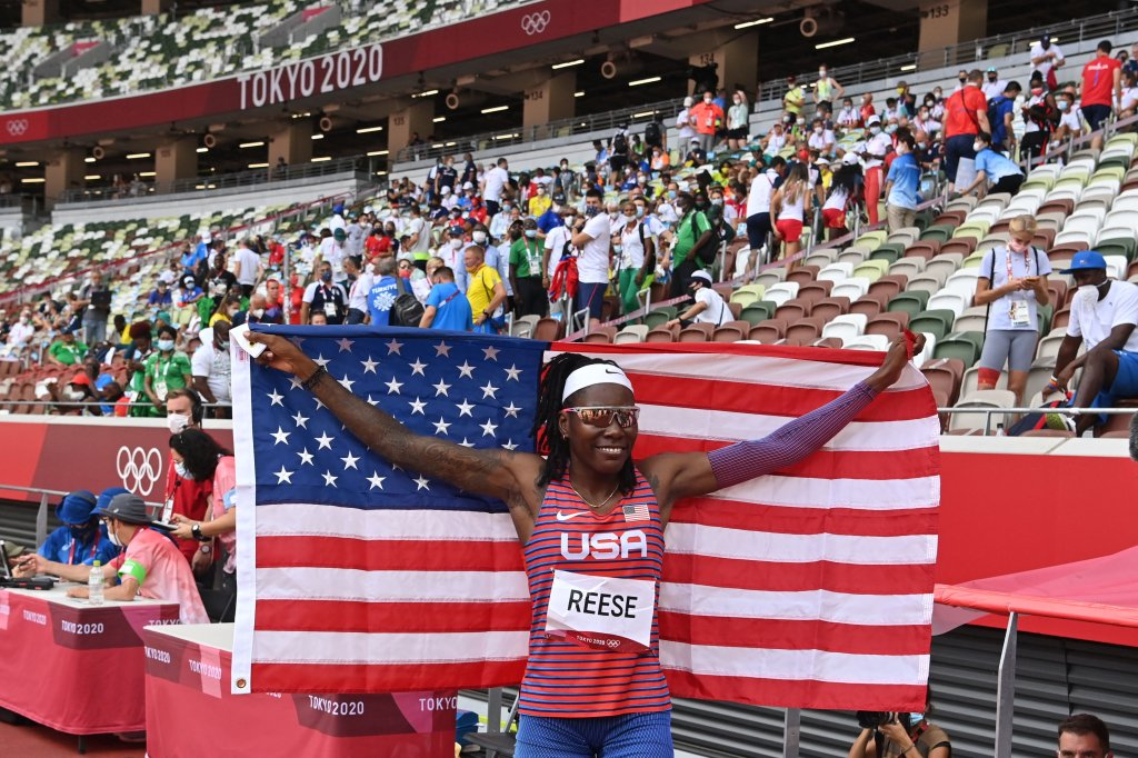 The United State's Brittney Reese celebrates after competing in the women's long jump final during the Tokyo 2020 Olympic Games at the Olympic Stadium in Tokyo, Japan on Aug. 3, 2021.