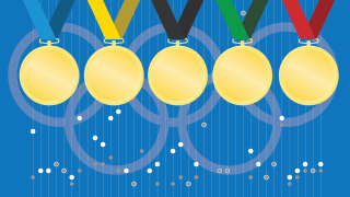 Photo illustration of gold medals over article graphic