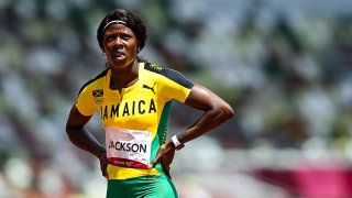 Shericka Jackson of Jamaica after finishing 4th place in her heat of the women's 200 metre at the Olympic Stadium on day ten of the 2020 Tokyo Summer Olympic Games