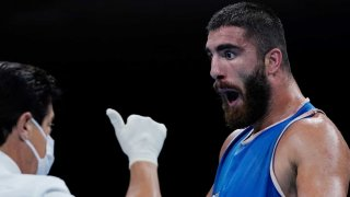 French boxer Mourad Aliev was furious with his disqualification Sunday at the Toyko Olympics.