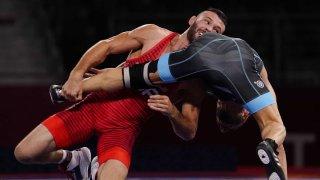 Thomas Gilman wrestles