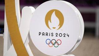 Paris 2024 signage at the Tokyo Olympics.