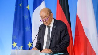 French Foreign Minister Jean-Yves Le Drian speaks during joint press conference on the sidelines of a meeting with his German and Polish counterparts to mark the 30th anniversary of the 'Weimar Triangle' in Weimar, Germany, Friday, Sept. 10, 2021.