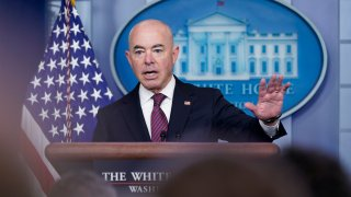 Secretary of Homeland Security Alejandro Mayorkas speaks during a press briefing at the White House, Friday, Sept. 24, 2021, in Washington.