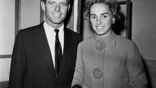 Robert F. Kennedy, brother of Sen. John F. Kennedy, is shown with his wife, Ethel, as they arrived to vote in the town of Barnstable, Mass., Nov. 8, 1960.