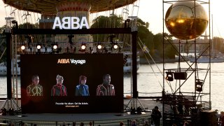 Members of the Swedish group ABBA are seen on a display during their Voyage event at Grona Lund, Stockholm