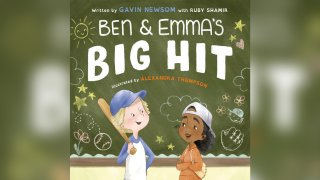 """This cover image released by Penguin Young Readers shows """"Ben and Emma's Big Hit"""" written by by California Governor Gavin Newsom with Ruby Shamir and illustrated by Alexandra Thompson."""