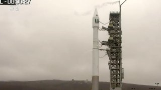 An Atlas V rocket on the launch pad at Vandenberg Space Force Base in California.
