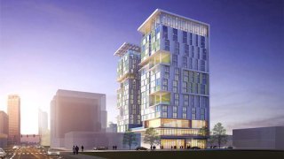 A rendering depicts the Weingart Center Towers planned for the Skid Row area of downtown Los Angeles.