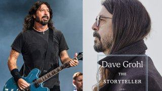 """This combination photo shows Dave Grohl of the Foo Fighters performing at Bourbon and Beyond Music Festival in Louisville, Ky., on Sept. 20, 2019, left, and """"The Storyteller: Tales of Life and Music, a memoir by Grohl."""