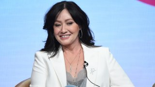 """FILE - Shannen Doherty participates in Fox's """"BH90210"""" panel at the Television Critics Association Summer Press Tour on Aug. 7, 2019, in Beverly Hills, Calif. A federal jury in Los Angeles awarded $6.3 million to actor Shannen Doherty on Monday, Oct. 4, 2021, in a lawsuit alleging that State Farm failed to pay sufficiently for damage to her house in a 2018 California wildfire."""