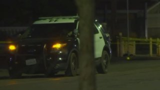 A law enforcement SUV at the scene of a shooting in Lancaster.