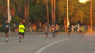 Runners compete in the 2021 Long Beach Marathon.