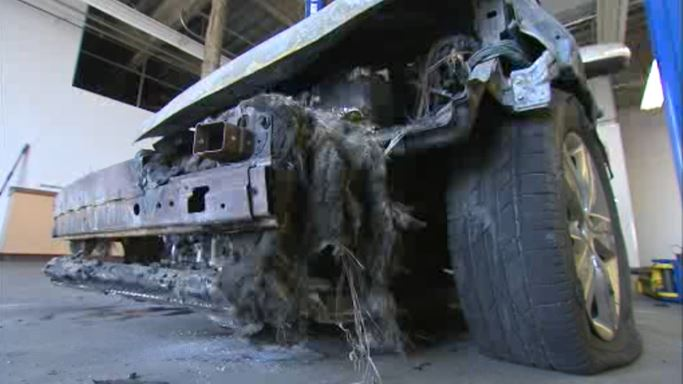 This is what's left of Lorinda Hixon's 2012 Kia Sorento that she says erupted in flames while she was on the freeway.