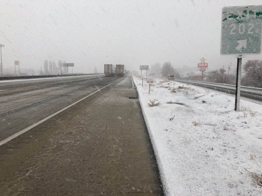 Snow drops on the Golden State Freeway at Gorman on Monday, Jan. 14, 2019 where there was a report of car spinning out, Caltrans reported.