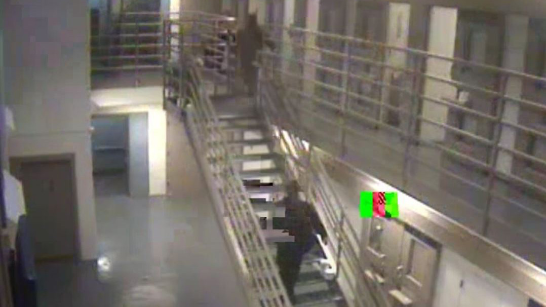 This screenshot shows the LAPD jail at the moment on March 27, 2016 when detention officers discovered inmate Wakiesha Wilson slumped on the floor of a second floor cell.