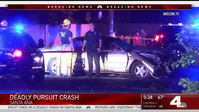 A child was rescued and the driver killed after a pursuit crash in Santa Ana July 23, 2017.