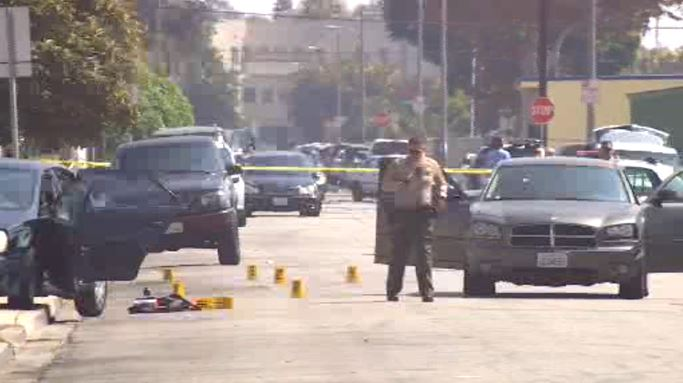 Authorities investigate a deputy-involved shooting on Monday, Sept. 24, 2018 in Compton.