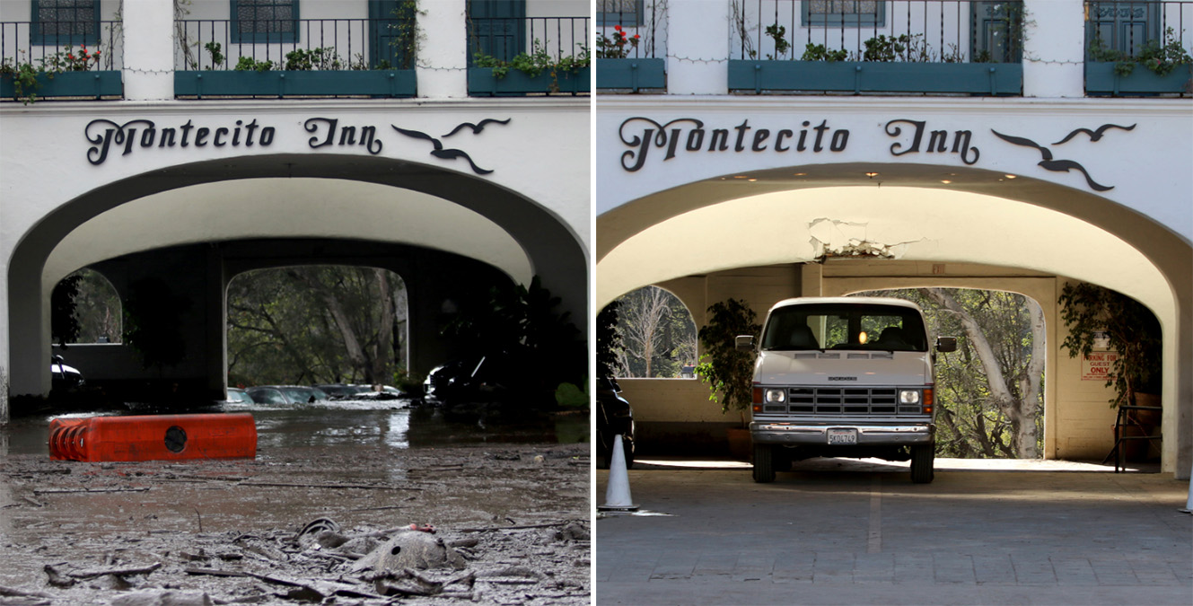This combination of photos shows debris and mud covering the entrance of the Montecito Inn, top, after heavy rain brought flash flooding in Montecito, Calif., on Jan. 9, 2018, and a similar view after clean up on Monday, Jan. 22, bottom. (AP Photo/Daniel Dreifuss)
