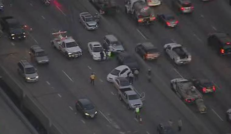 A crash closed part of the 101 Freeway Thursday morning near downtown Los Angeles.
