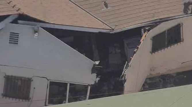 Part of a home was damaged Thursday Oct. 11, 2018 in an explosion that injured one person in Boyle Heights.