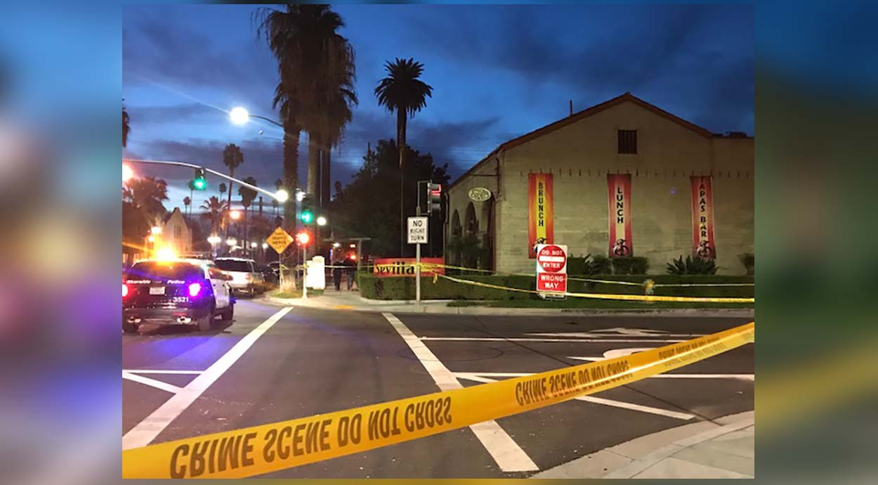 Yellow crime scene tape is pictured outside a Riverside nightclub Monday Oct. 29, 2018.