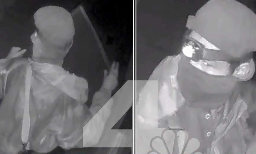 Security cameras captured video of a masked man with a rifle slung over his left shoulder in a series of unusual break-ins.