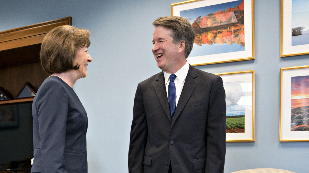 Sen. Susan Collins, R-Maine, and Supreme Court nominee Brett Kavanaugh smile during a meeting at her office on Capitol Hill in Washington, D.C., on Tuesday, Aug. 21, 2018.