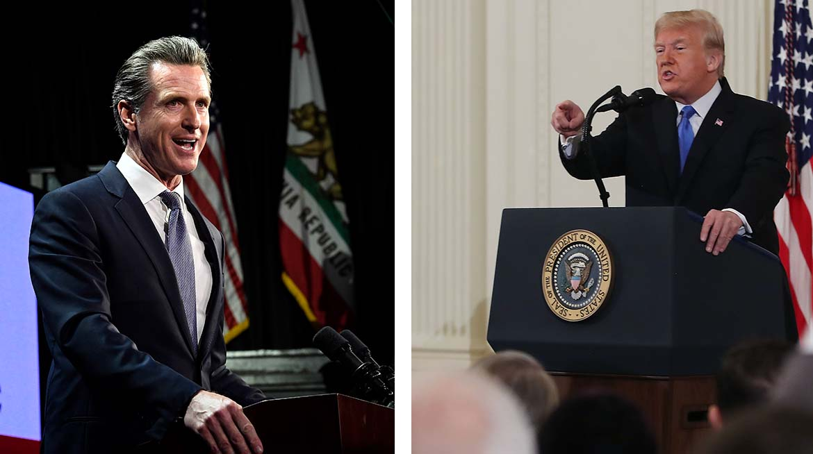 California Governor-elect Gavin Newsom (left) responded to a tweet from President Donald Trump regarding federal funding to battle wildfires.