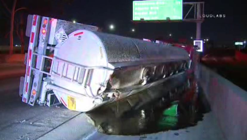 An overturned tanker truck on the southbound 710 Freeway was blocking traffic early Thursday Nov. 15, 2018 southeast of downtown Los Angeles.