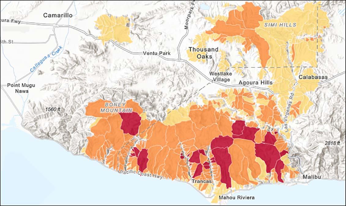 A landslide risk assessment map shows wildfire burn areas in November 2018.