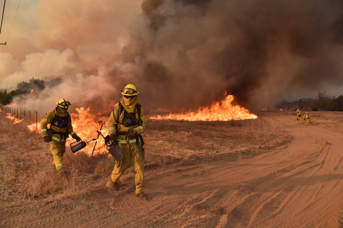 Firefighters set backfires during a respite from strong wind gusts and they try to increase containment Dec. 19, 2017 in the Thomas fire zone.