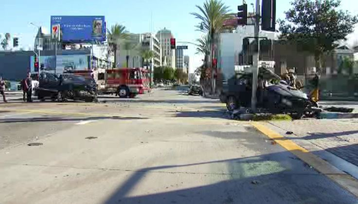 Two cars collided on a Koreatown street Tuesday Dec. 25, 2018.