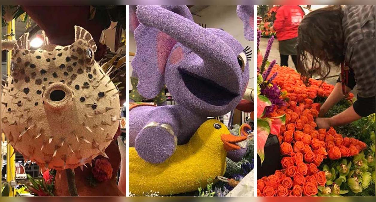 Rose Parade floats are pictured Monday Dec. 31, 2018.