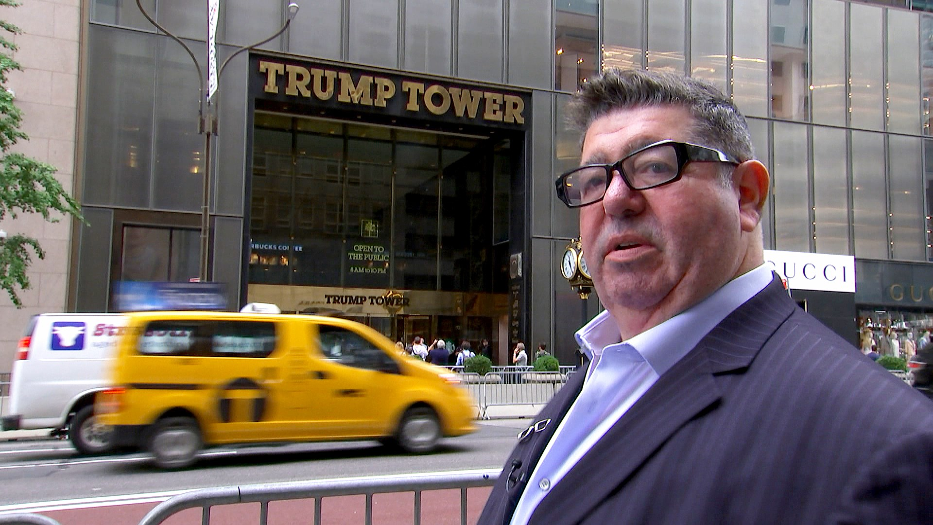 British music publicist Rob Goldstone is seen outside Trump Tower in New York City, the site of a June 2016 meeting he helped set up between Russians and members of the Trump campaign team.