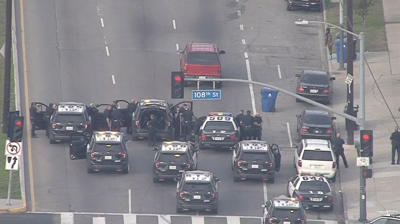 A man in a red SUV led police on a start-and-stop chase in South Los Angeles on Friday, Jan. 11, 2019.