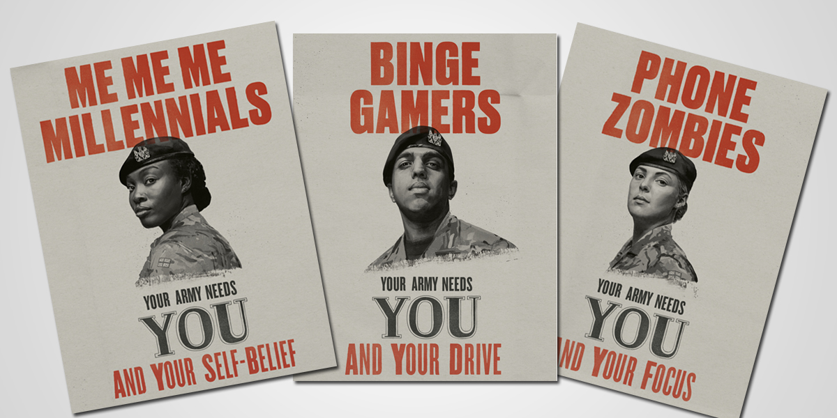 This composite photo shows three of the British army's new recruitment ads targeting millennials.