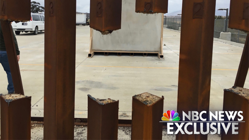 An NBC News Exclusive photo shows the steel columns of a border wall prototype were breached with a common industrial tool.