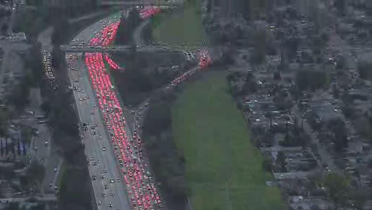 Overturned Big Rig Closes Part of 118 Freeway in Granada Hills