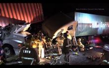 Two Injured When Three Big Rigs Crash on 710 Freeway
