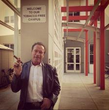 Schwarzenegger Breaks Rules at Facebook Campus