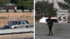 Man Armed With Rifle Runs Down Middle of Freeway
