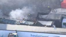 Trucks, RVs Burn in Storage Yard Fire in East Los Angeles