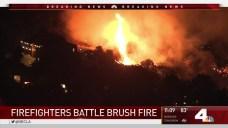 Firefighters Battle La Cañada Flintridge Brush Fire