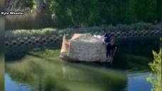 Video Shows Homeless Encampment Raft Floating in Venice Canal